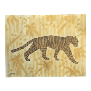 Chinoiserie Tiger Leopard Painting in Palm Trees by Cleo Plowden For Sale
