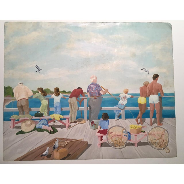 "Mid-Century Mary M. Kennedy ""Muscle Beach"" Painting - Image 3 of 8"