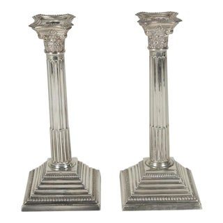 1910s Edwardian Sterling Silver Column Motif Candlesticks - a Pair For Sale