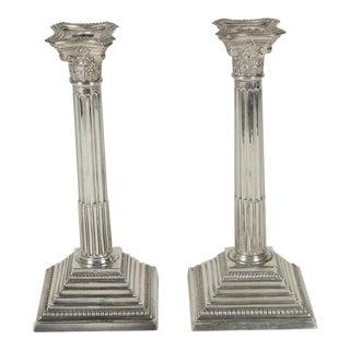 1910s Edwardian Sterling Silver Column Motif Candlesticks - a Pair