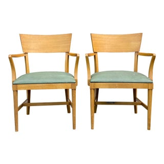 1940s Rway Bleached Mahogany Arm Chairs - a Pair For Sale