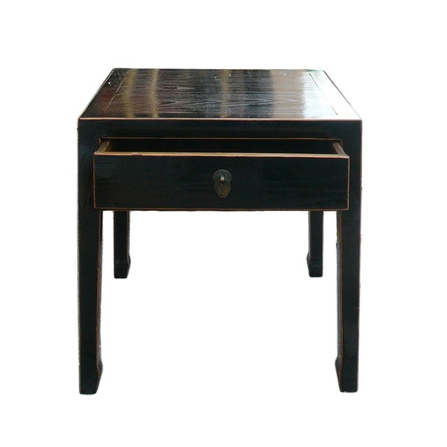 Square Black Single Drawer Side Table - Image 5 of 6