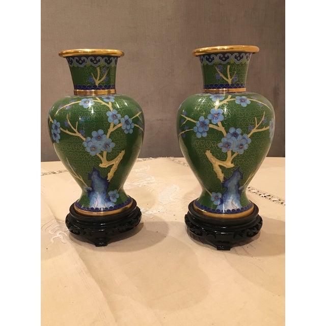 Green & Blue Floral Cloisonne Vases - A Pair - Image 2 of 8