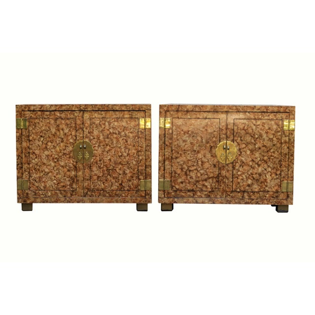Henredon Faux Tortoise Shell Cabinets - a Pair For Sale - Image 12 of 12