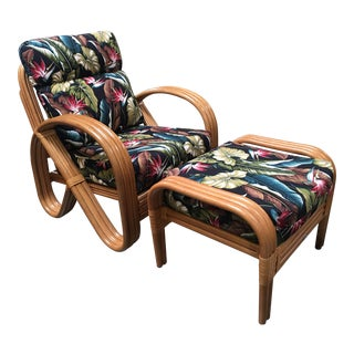 Rattan Lounge Chair With 3/4 Pretzel Arms and Ottoman For Sale
