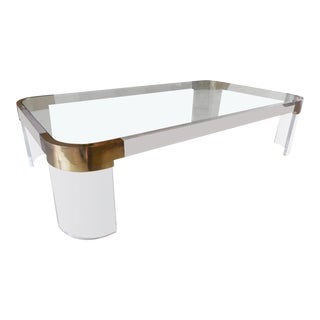 Charles Hollis Jones Lucite & Brass Coffee Table For Sale