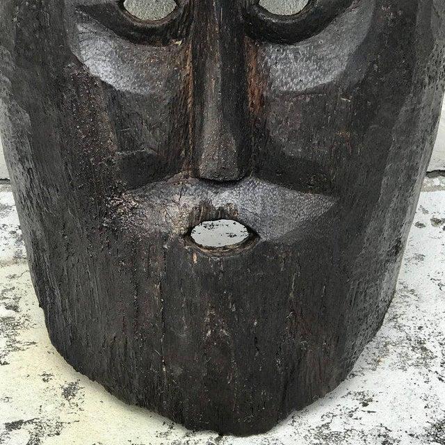 Brown Huge Carved Mahogany Celtic Mask For Sale - Image 8 of 12