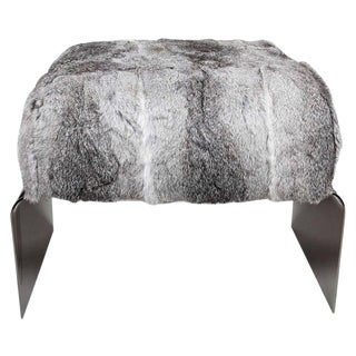 Luxurious Mid-Century Modern Style Lapin Fur Ottoman Stool With Black Chrome Base For Sale