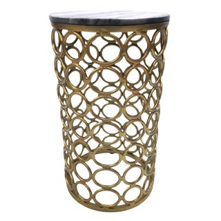Garner End Table, Marble and Iron Side Table, Marble Top, Small Spaces, Round Accent Furniture for Living Room- Natural For Sale
