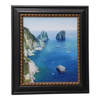 Remarkable Impressionist Mediterranean Coastal Landscape With Yachts For Sale