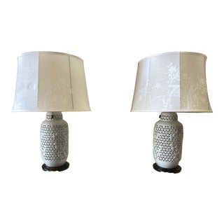 1950s Chinese Pierced Table Lamps - a Pair For Sale