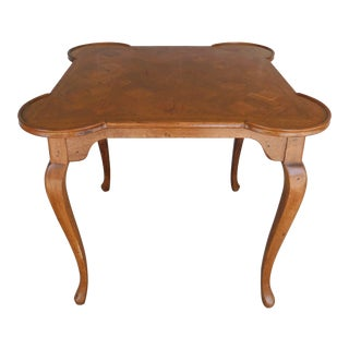 French Provincial Louis XV Style Parquet Top Game Table For Sale