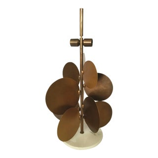 Ralph Pucci Lamp by Herve Van Der Straeten, Pastilles 373 Hammered Brass & Marble For Sale