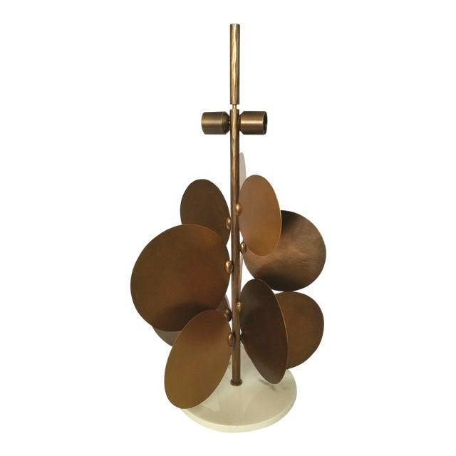 Ralph Pucci Lamp by Herve Van Der Straeten, Pastilles 373 Hammered Brass & Marble For Sale