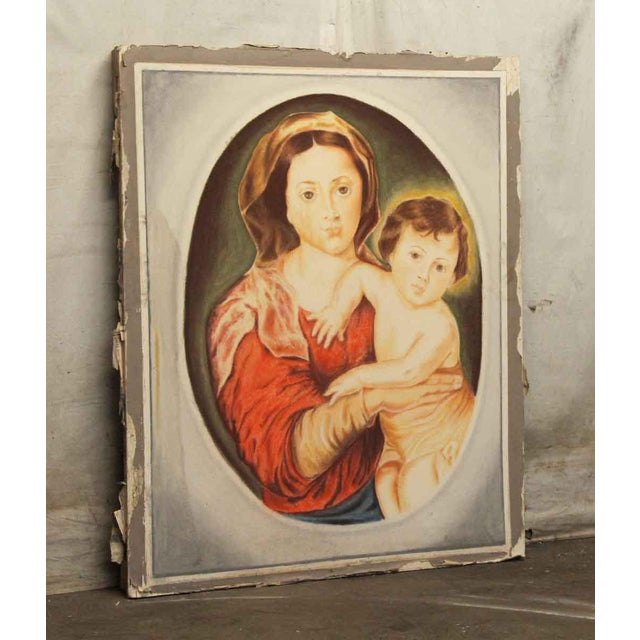 Large painting of the famous Madonna & Child done on sheet rock. The back is framed with wood. This was salvaged from Rose...