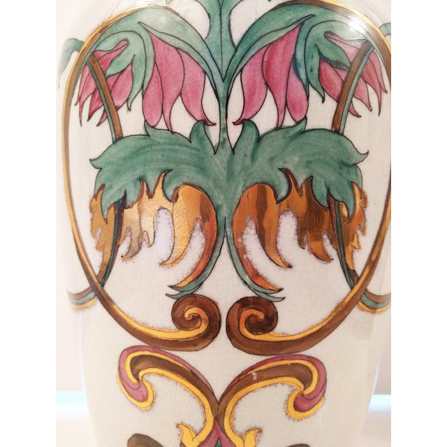 Vintage Crackle Glazed Chinoiserie Table Lamp - Image 4 of 4