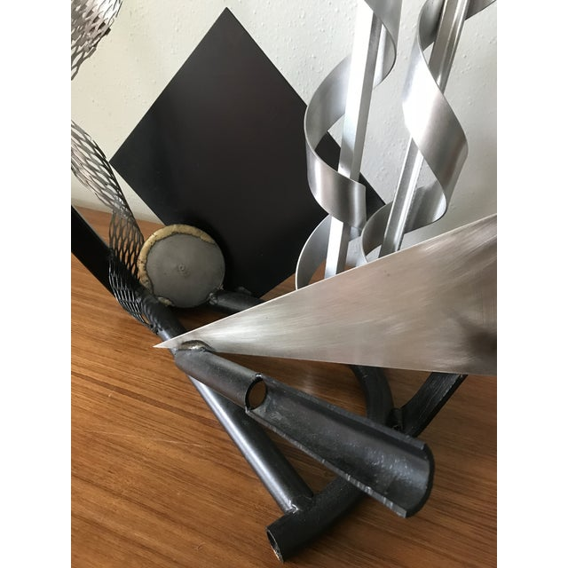 Post Modern Abstract Mixed Metal Sculpture For Sale - Image 4 of 7