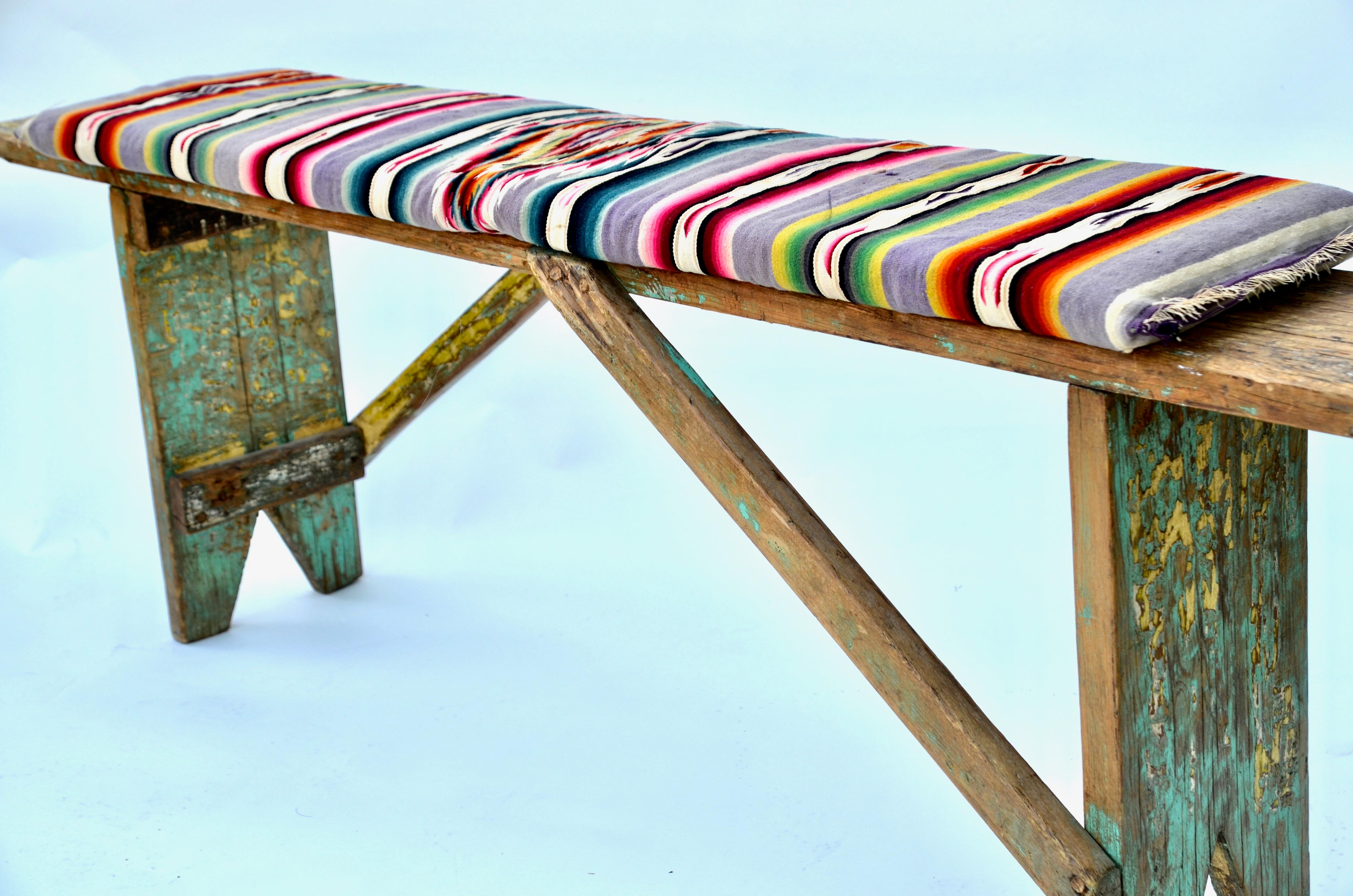 1920s Mexican Wood Bench With Antique Serape Cushion For Sale In Los Angeles    Image 6