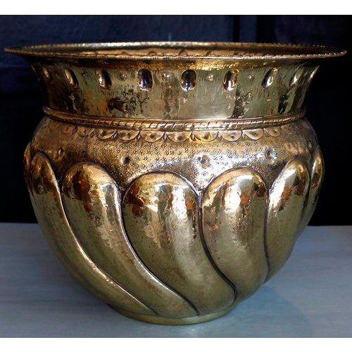 Large Brass Repousée Cachepot With Bold Gadrooning - Image 6 of 7