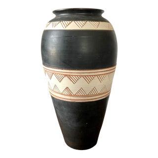 Late 20th Century Black Cream Italian Pottery Vase For Sale