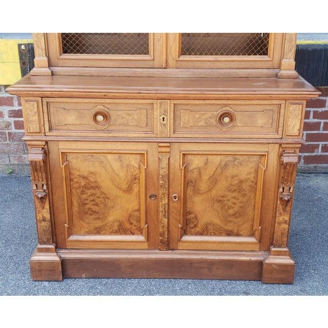 Green Antique 19th Century Palatial Size Burl Walnut Eastlake Victorian Butler's Secretary Desk C1860 For Sale - Image 8 of 13