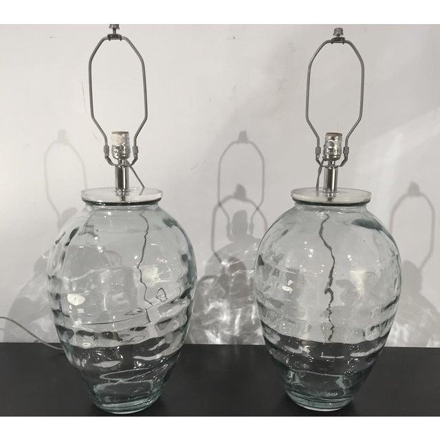 Mid-Century Spanish Clear Glass Lamps - A Pair - Image 10 of 10
