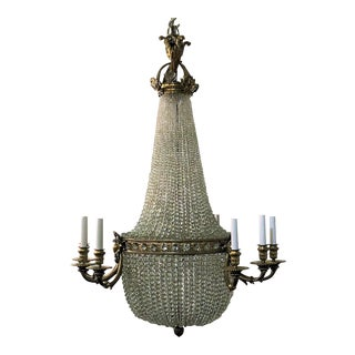 Antique French Ormolu and Richly Beaded Chandelier, Circa 1900.