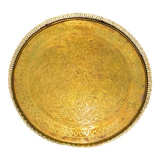 Moroccan Engraved Brass Tray Table For Sale