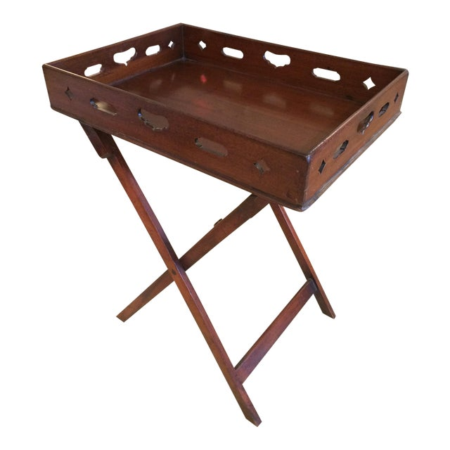 English Traditional Mahogany Butler's Tray Table For Sale