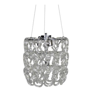 Mid Century Giogali Glass Link Chandelier by Mangiarotti for Vistosi For Sale
