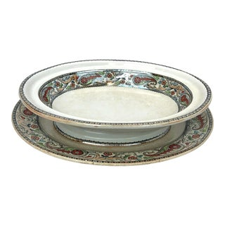 19th Century Till and Sons Ironstone Serving Bowl & Platter For Sale