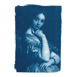 Ingres, Portrait of a Young Girl, Handmade Cyanotype on Watercolor Paper, Limited Serie, A4