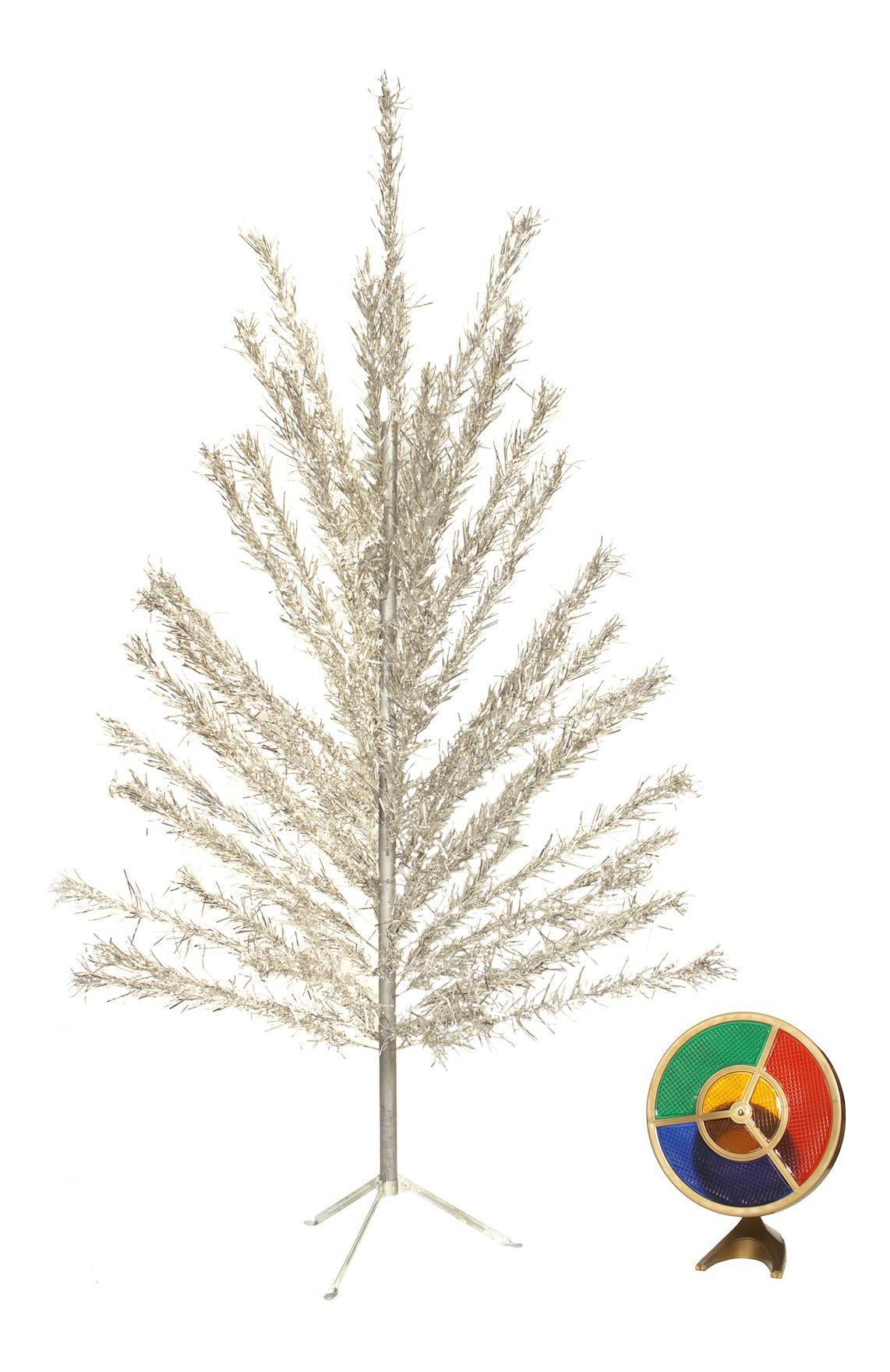 6 Foot Aluminum Christmas Tree With Color Wheel Light Chairish