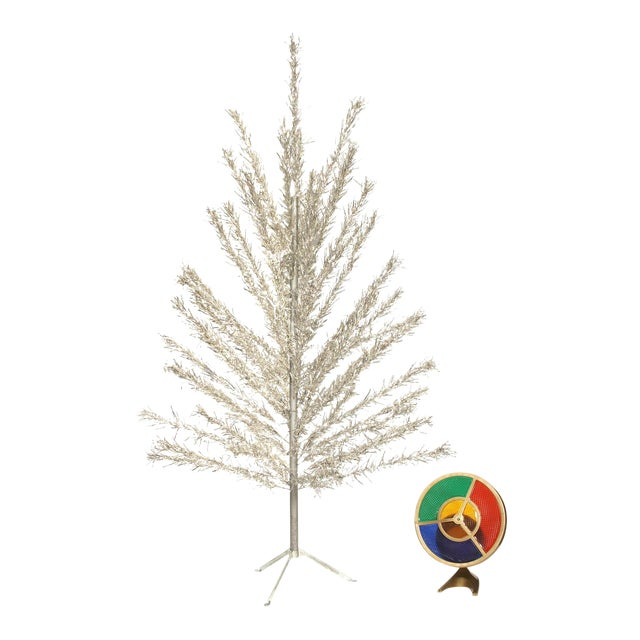 6 Foot Aluminum Christmas Tree with Color Wheel Light - Image 1 of 7