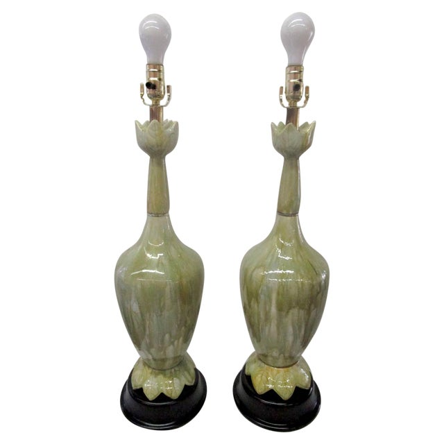 Green Ceramic Lamps With Flower Motif - Pair - Image 1 of 10