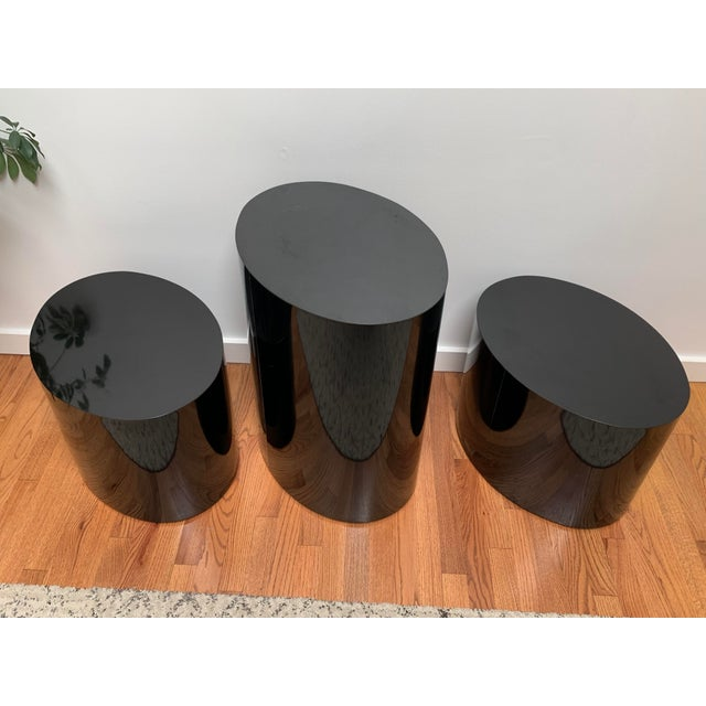 1980s Black Laminate Oval Drum Tables-A Pair For Sale - Image 9 of 11