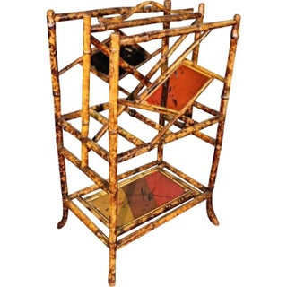 Antique Asian Hand Painted Bamboo Magazine Rack
