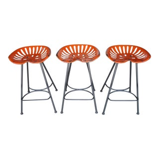 Contemporary Rustic Aluminum Tractor Barstools - Set of 3 For Sale