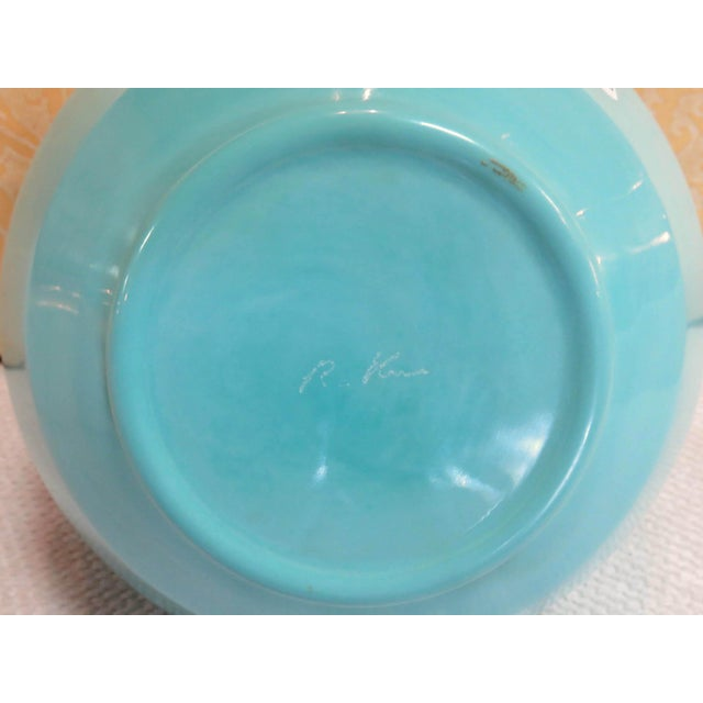 2010s Robert Kuo Turquoise Hand Blown Peking Glass Vase, Signed For Sale - Image 5 of 6