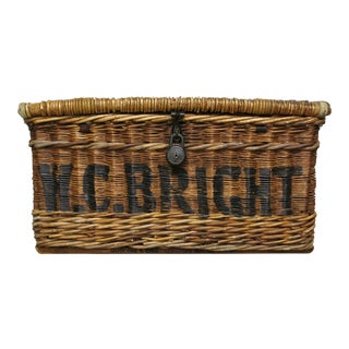 Vintage English Linen Basket Wicker Basket For Sale