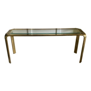 Mid Century John Widdicomb Brass Waterfall Console Table For Sale