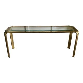Mid Century John Widdicomb Brass Waterfall Console Table For Sale