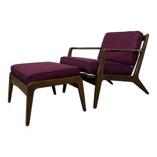 Mid-Century Danish Modern Kofod Larsen Walnut Lounge Chair & Ottoman For Sale