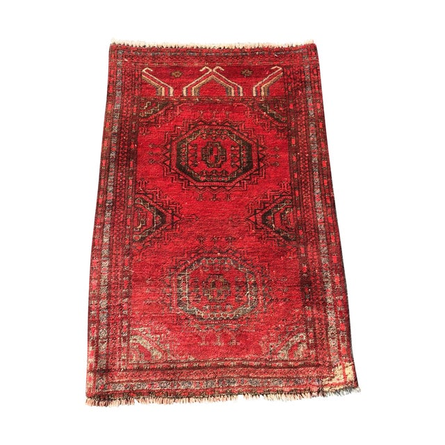 "Antique Turkaman Red Persian Rug - 1'10"" x 2'10"" - Image 1 of 7"