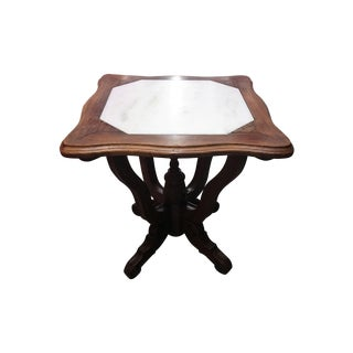 Antique Ornate Carved Entry Table with Marble Top For Sale
