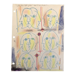 """2010 """"Double Faces, Triple Face! What's It Mean Doctor?"""" Mask Drawing by James Bone For Sale"""