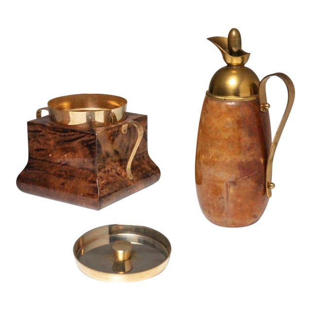 Ice Bucket and Pitcher by Aldo Tura For Sale