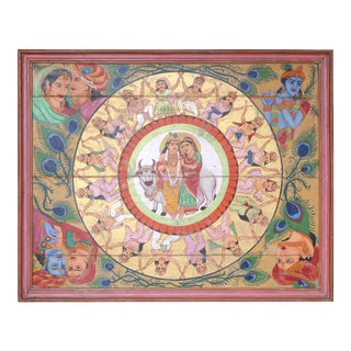 Vintage Mid-Century Ceiling From Hindu Temple Framed Painting For Sale