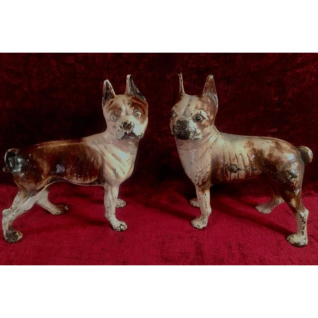 1930s Hubley Boston Terrier Dog Cast Iron Doorstops - a Pair For Sale - Image 13 of 13