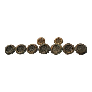 Antique Victorian Regency Bronze/Copper Round Drawer Pulls - Set of 9 For Sale